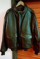 Vintage AVIREX A-2 Brown Leather Flight Jacket USA MADE Size 2XL