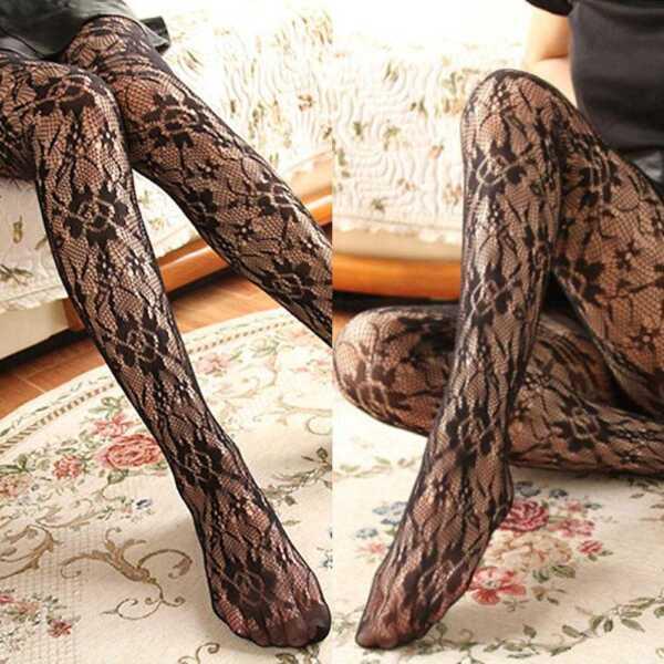 6297268cdcd4d5 Fashion Women Fishnet Ladies Black Mesh Lace Pattern Pantyhose Stockings  Socks