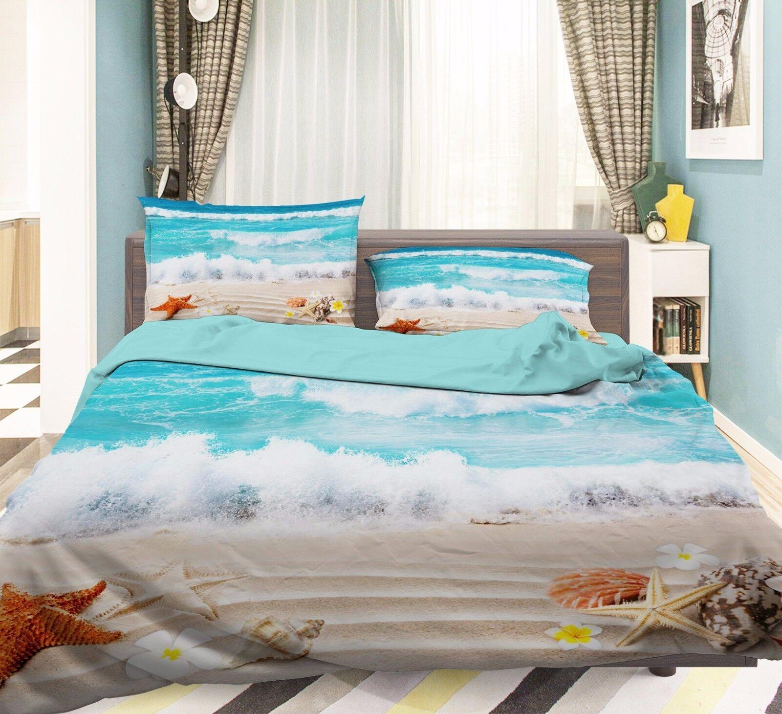 3D Seestern 530 Bett Kissenbezüge steppen Duvet Decken Set Single DE Carly