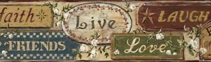 Wallpaper-Border-Country-Signs-Live-Laugh-Love-Friends-Family-Red-Green-Blue-Tan