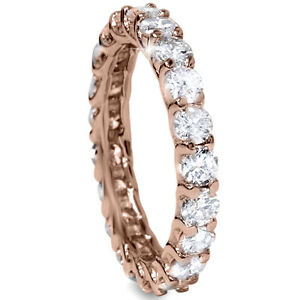 3-00CT-U-Shape-Diamond-Eternity-Wedding-Ring-14K-Rose-Gold-Size-4-9