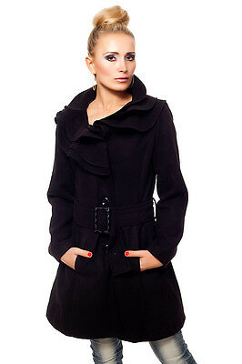 Mantel Wolljacke Winterjacke schwarz 34 36 38 S M L halblang Jacke Damenjacke
