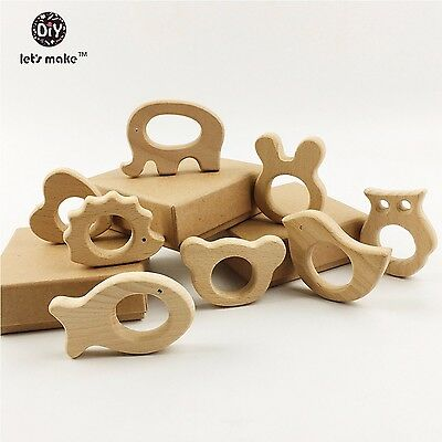 8pcs Wood Baby Teether Baby Teething Toy natural Organic Infant Teething Toy New