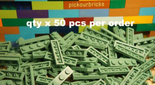 LEGO 3710 Sand Green 1x4 PLATE 1 x 4 Building Plates 50 Pcs