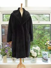 STUNNING!! *THOMAS MARSHALL* BLACK WITH GOLD SPARKLE FAUX FUR 3/4 LENGTH COAT L