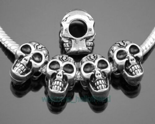 30pcs Tibetan Silver Skull Head Beads Fit Charm Bracelet FreeShip ZY181