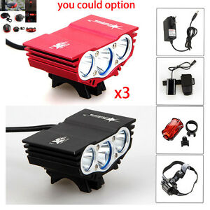 10000LM-3x-XM-L-U2-LED-Bici-bicicletta-Luce-faro-lampada-Torcia-batteria-4x18650