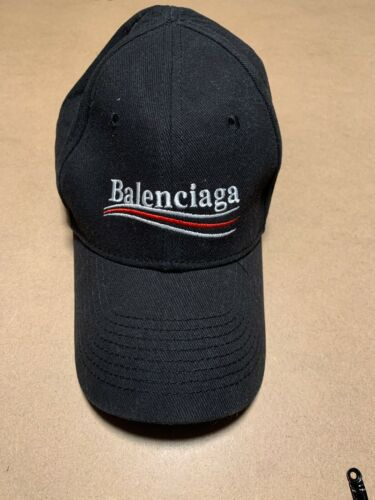 Balenciaga black cotton adjustable embroidered log