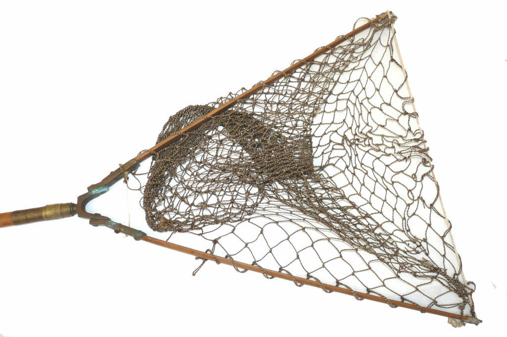 Antique Cane Folding Landing Net with Brass Fittings and wood arms with knott...