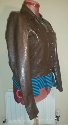 C40ins Pure Size Pvc C102cms Glossy Faux L Leather Brown Chest Vegan Jacket 4wO4fvq
