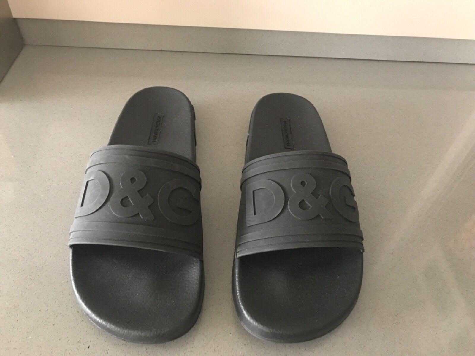 Men's Dolce & Gabbana DG logo black sliders size 43