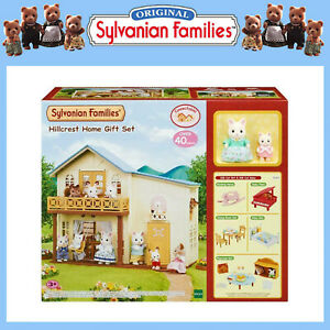 SYLVANIAN-FAMILIES-GIFT-SET-HILLCREST-HOME-DOLL-HOUSE-w-FURNITURE-amp-FIGURES-5343