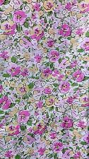 Hillcrest Twin Size 3 piece Sheet Set Pansy Flowers purple green yellow Cotton