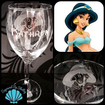 Personnalisé Disney Princess chateau de verre vin fait main /& free GRAVURE nom!