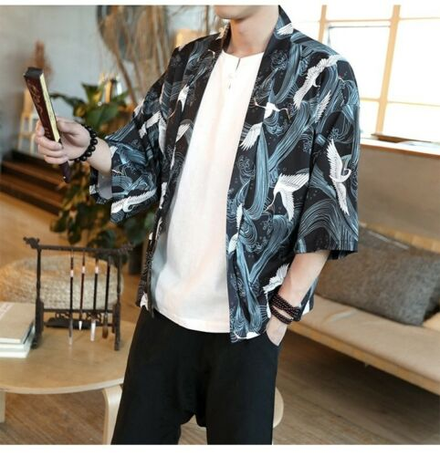 Herren Japanische Kimono Strickjacke Yukata Kran TOP Outwearlinie Jacke Mantel