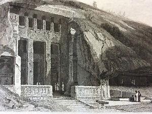 India-Goa-Ocean-Indian-Temple-Salcette-Salcete-Engraving-XIX-Th-India-Bharat