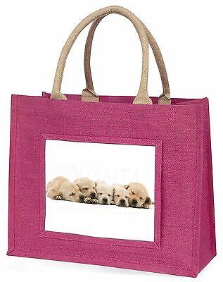 Fünf Golden Retriever Welpe Hunde Große Rosa Einkaufstasche Weihnachten Pr,