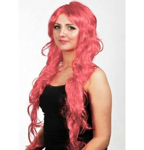 BRIGHT RED Rave Wavy Long Luscious Glamour Wig Fancy Dress Party Cosplay 80s