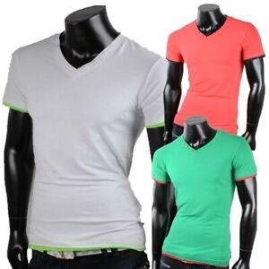 T-shirt-da-Uomo-Scollo-collo-a-V-maglietta-manica-corta-maniche-corte-5641-XXL