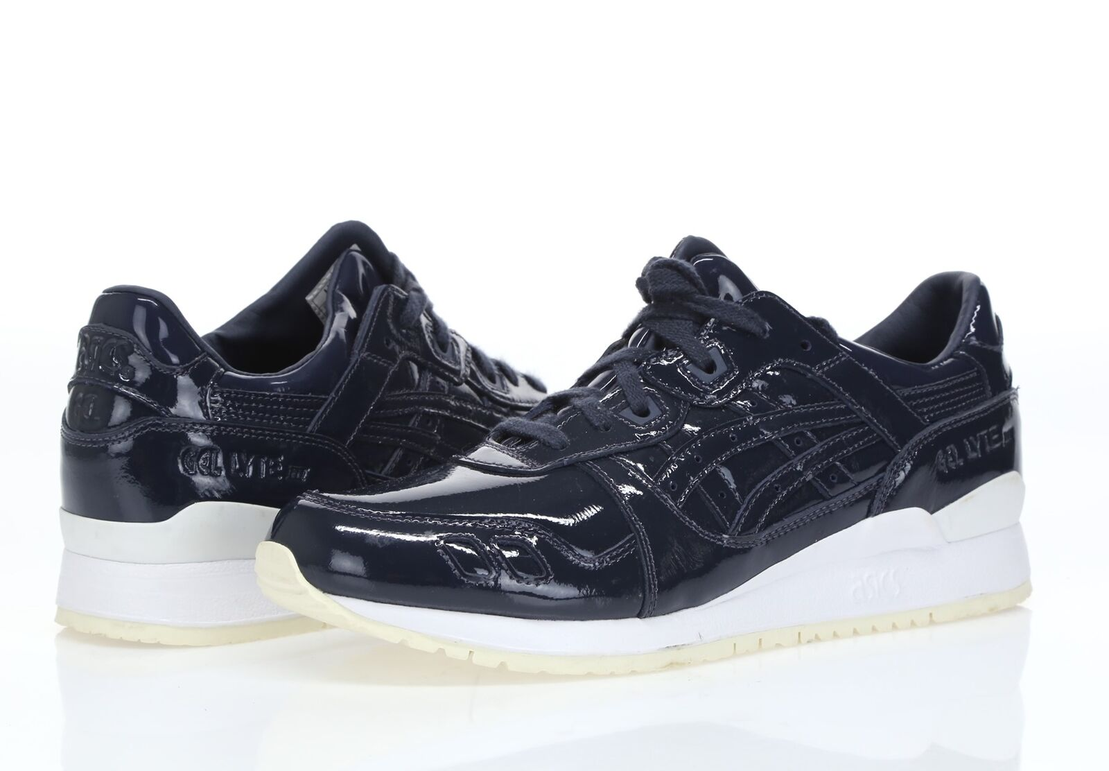 Asics Gel-Lyte III hommes navy Bleu patent leather sneakers sz. 9.5 ( 43.5 )