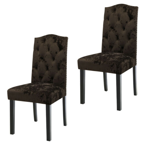 2/4X Crushed Velvet Dining Chairs Tufted Button Royal Crown High Back Seat Chair