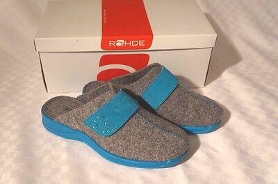 Pantofole Rohde Sandali Feltro Grigio & Blu Chiaro Tramutata Solo Una Velcro Tg. 37-mostra Il Titolo Originale