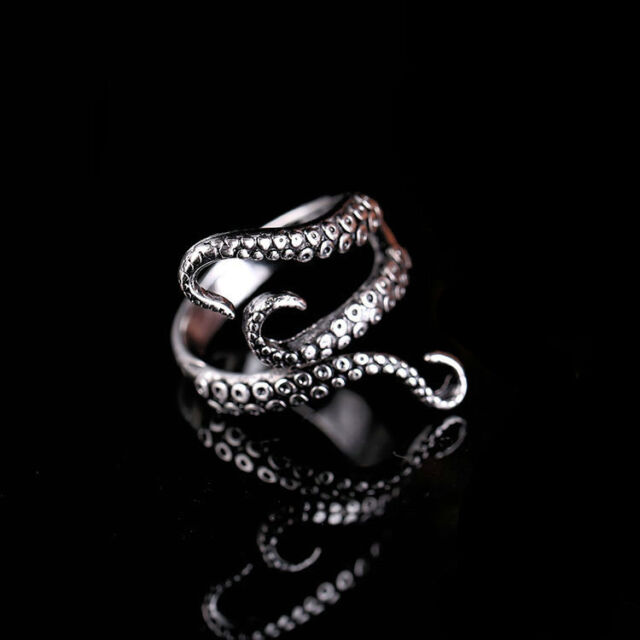 8# Mens Silver Octopus Devilfish Stainless Steel Adjustable Band Ring Jewelry