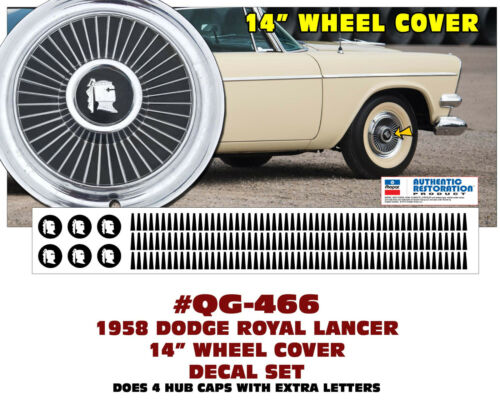 "LANCER ROYAL QG-466 1959 DODGE 14/"" WHEEL COVER HUB CAP DECALS"
