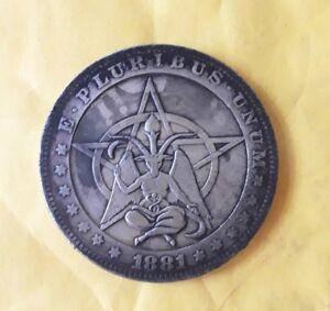 BAPHOMET-SATAN-DEVIL-Pagan-black-magick-Witchcraft-coin-talisman-amulet-ANTIQUE