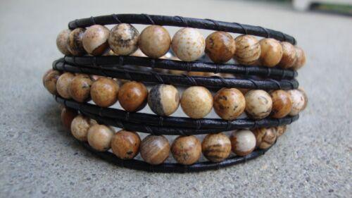 Picture Jasper Beaded Wrap Bracelet 3x Handmade Black Leather Wrap Bracelet USA