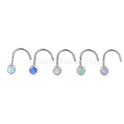 5pc 20 Gauge OPAL 3mm Stone G23 Titanium Nose Ring Screws Studs Piercing Jewelry