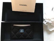 CHANEL Caviar Leather Card Case Cardholder Black NWB