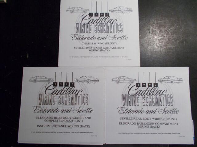 1992 Cadillac Eldorado Seville Wiring Schematics Diagrams Set Of Three Ebay