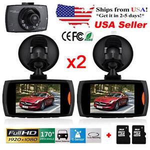 "2x Full HD 1080P 2.4"" Car DVR CCTV Dash Camera G-sensor Night Vision Recorder OH"