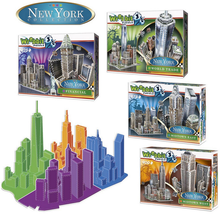 3D Puzzles - New York Collection - 4er Set, insges. 3575 Teile, Amerika, Wrebbit