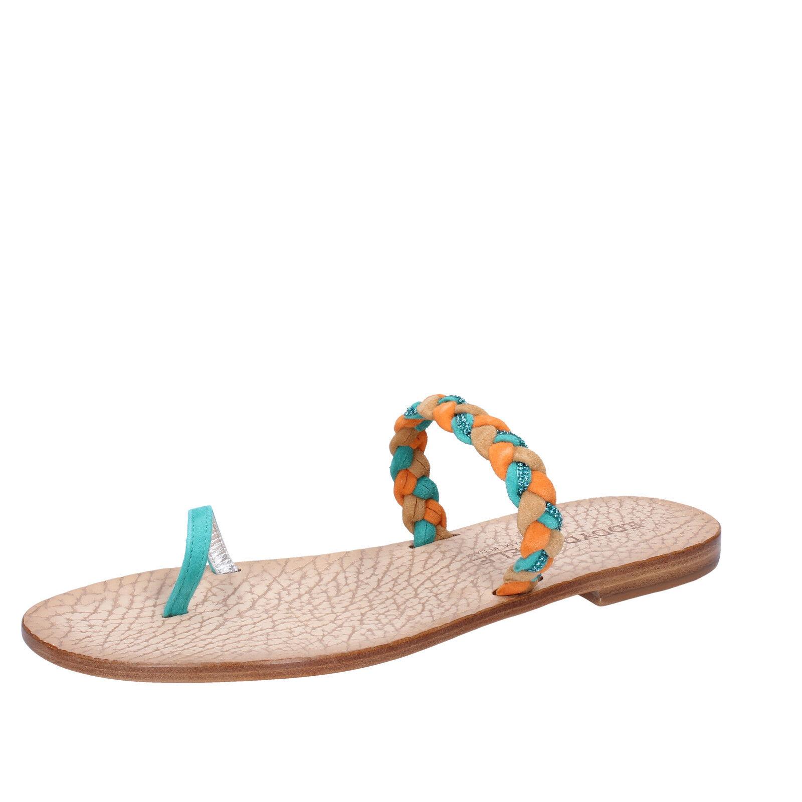 Damens's schuhe EDDY DANIELE 7 (EU 37) Sandale multicolor suede swarovski AX716-37
