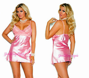 5e007c8f8 Image is loading Plus-Size-PINK-CHARMEUSE-BABYDOLL-Lace-Bodice-Underwire-