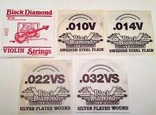 NOS BLACK DIAMOND N719 SILVER PLATED WOUND VIOLIN STRINGS 010 .014 .022 .032 LOT