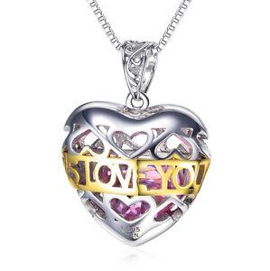 E11 I Will Always Love You - Placcato Oro IN Cuore Ciondolo Collana Argento 925