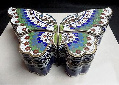 Unusual Cloisonne 4 Box Butterfly