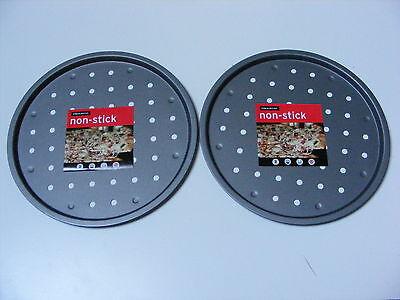 """2 X 12 """"pollici Aerato Pizza Vassoio Da Forno / Pan Tin-antiaderente-base Sottili - 30cm- L'Ultima Moda"""