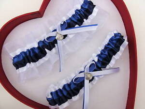 4a66c25bfba Image is loading SeaShell-Wedding-Garter-Set-Royal-Navy-Blue-White-