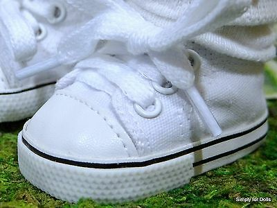 """WHITE DENIM Canvas DOLL SNEAKERS Tennis SHOES fit 18"""" AMERICAN GIRL Doll Clothes"""