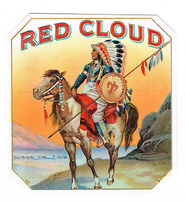 GENUINE CIGAR BOX LABEL VINTAGE OUTER NATIVE AMERICAN INDIAN RED CLOUD C1910