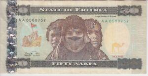 F-vf To Invigorate Health Effectively Eritrea Banknote P5 50 Nakfa 24.5.1997 Prefix Aa Africa