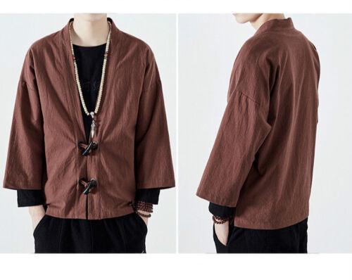 GIAPPONESE UOMO LINO kimono giacca larga cardigan maglia CORNO fibbia