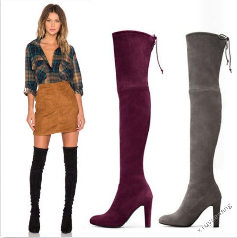 Zapatos Zapatos Zapatos De Fiesta Cuero de ante para mujer taco alto encima de la rodilla botas Talla Grande 3 Colors  tienda de venta en línea
