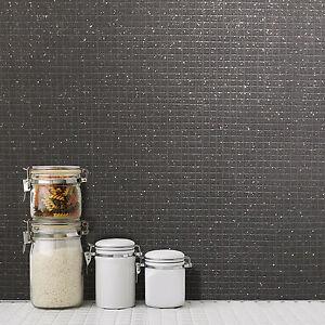 neu crown klein mosaik fliesen effekt schwarz glitzer luxus tapete m1057 ebay. Black Bedroom Furniture Sets. Home Design Ideas