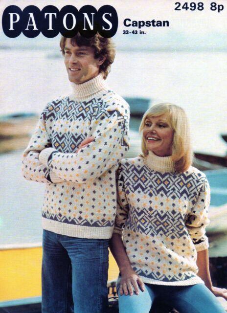 Ladies' Chunky Icelandic Fair Isle Yoke Sweater Vintage Knitting Pattern 10047