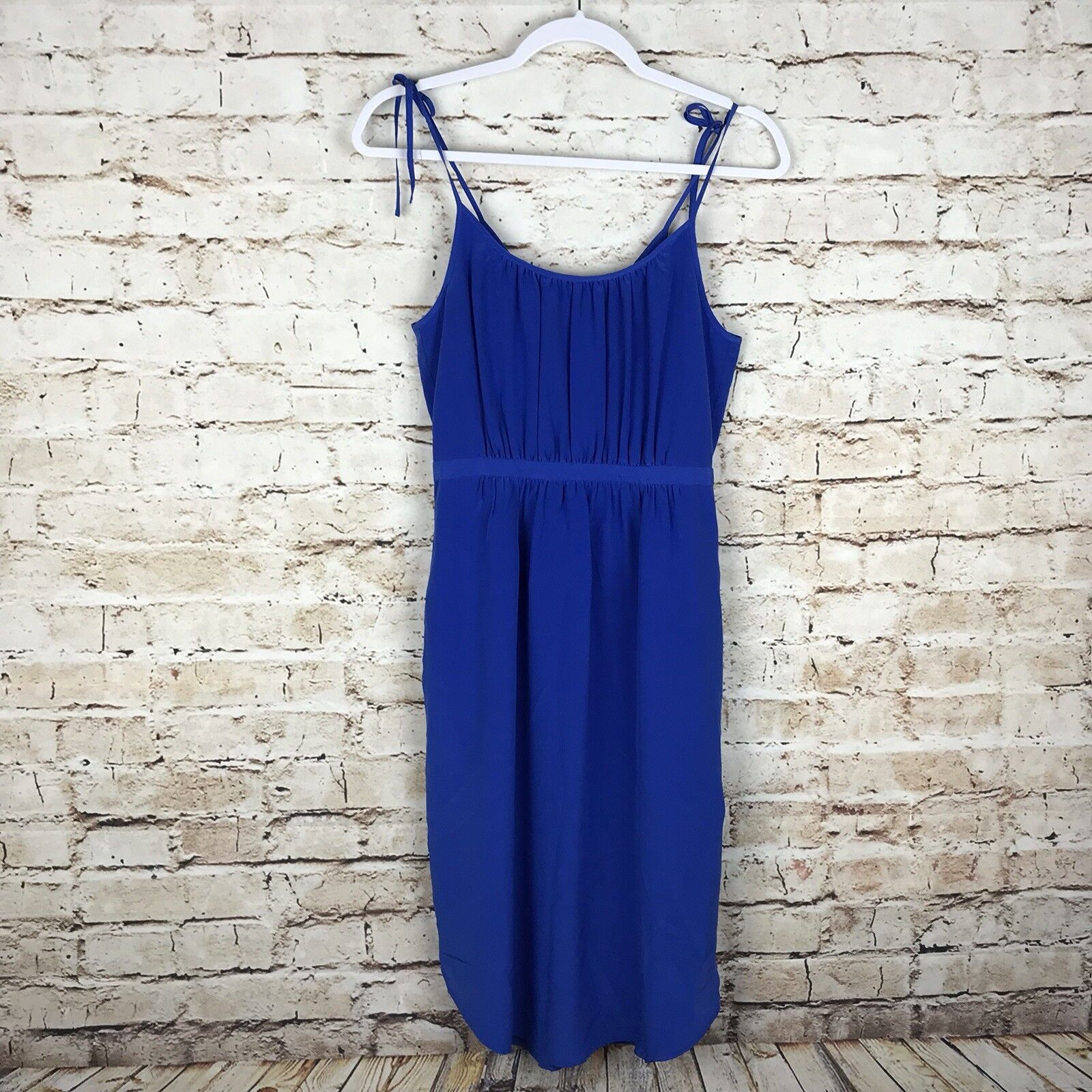 Madewell damen Blau Größe 2 Spaghetti Strap Pockets 100% Silk Lined Casual Dress